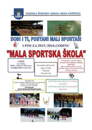 Plakat - Mala sportska škola (sezone 2015./2016.)
