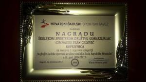 """Gimnazija """"Fran Galović"""" Koprivnica- Gimnazijski sport: 3. u Hrvatskoj"""