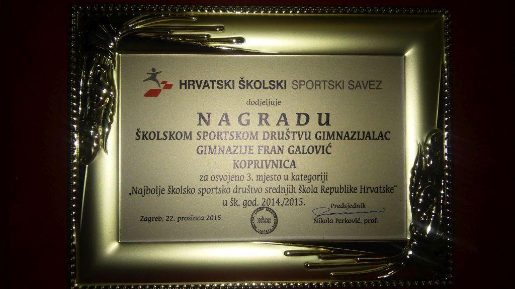 """Gimnazija """"Fran Galović"""" Koprivnica – Gimnazijski sport: 3. u Hrvatskoj"""