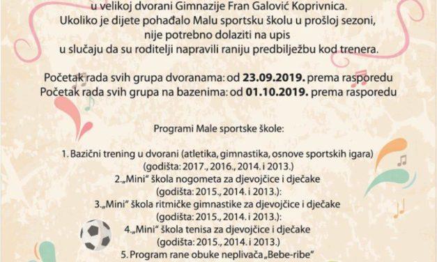UPISI U MALU SPORTSKU ŠKOLU 2019. GODINE