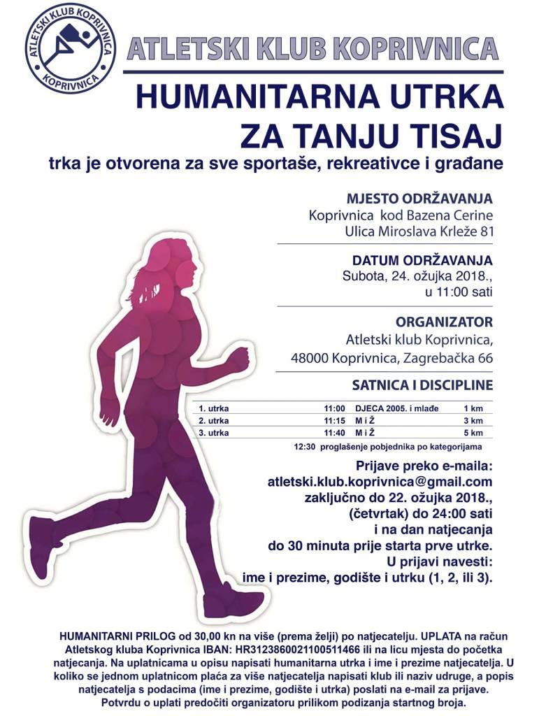 Poziv na humanitarnu kros utrku za Tanju Tisaj