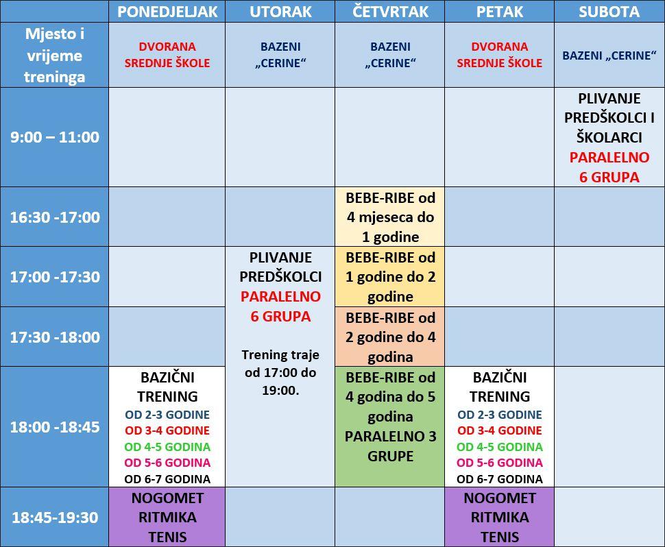 Mala sportska škola - Raspored grupa i termina u sezoni 2018./2019.